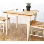 ダイニングテーブル 80cm幅 ホワイト テーブル 食卓 ダイニングキッチン 天然木 カントリー おしゃれ 北欧 組立品