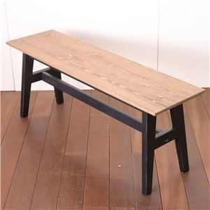 ダイニングベンチ 110cm幅 ブラック ベンチ スツール ダイニングチェア 椅子 チェアー 天然木 カントリー おしゃれ 北欧 組立品 - 拡大画像