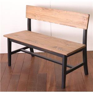 ダイニング背付ベンチ 95cm幅 ブラック ダイニングベンチ ベンチ スツール 椅子 ダイニングチェア 天然木 カントリー おしゃれ 組立品 - 拡大画像