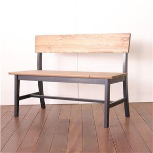 ダイニング背付ベンチ 110cm幅 ブラック ダイニングベンチ ベンチ スツール 椅子 ダイニングチェア 天然木 カントリー おしゃれ 組立品 - 拡大画像