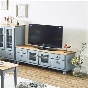 TVボード 120cm幅 ブルーグレー テレビ台 テレビボード リビングボード リビング 収納 天然木 カントリー おしゃれ 北欧 - 拡大画像