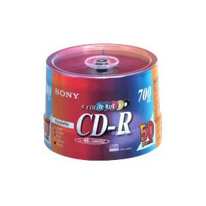 ソニー CD-R カラーミックス(ケースなし)  50枚パック 700MB 50CDQ80EXSP - 拡大画像