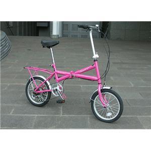 HEAVEN's(ヘブンズ) パステルカラーXタイプ シマノ6段ギア付16インチ折畳み自転車 ピンク - 拡大画像