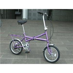 HEAVEN's(ヘブンズ) パステルカラーXタイプ シマノ6段ギア付16インチ折畳み自転車 パープル - 拡大画像