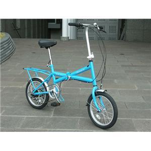 HEAVEN's(ヘブンズ) パステルカラーXタイプ シマノ6段ギア付16インチ折畳み自転車 ブルー - 拡大画像