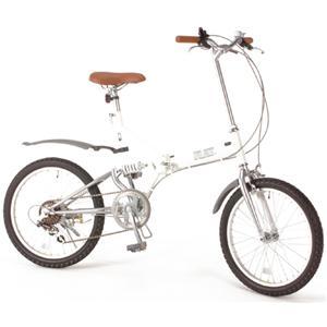GROWINGFLAT 艶消しカラー 20インチ折畳自転車 ホワイト - 拡大画像