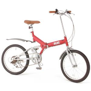 GROWINGFLAT 艶消しカラー 20インチ折畳自転車 ワインレッド - 拡大画像