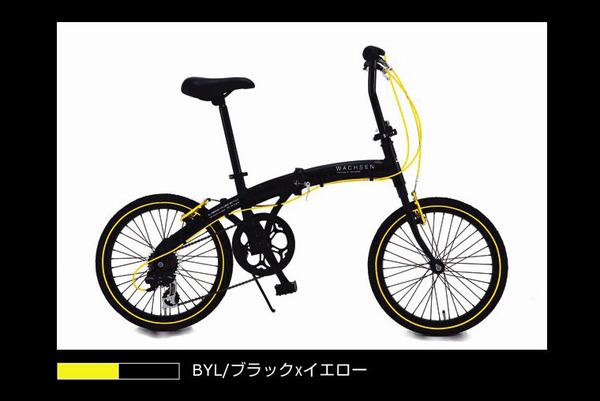 WACHSEN(ヴァクセン) アルミ折りたたみ自転車 BA-100 20インチ ブラック&イエロー