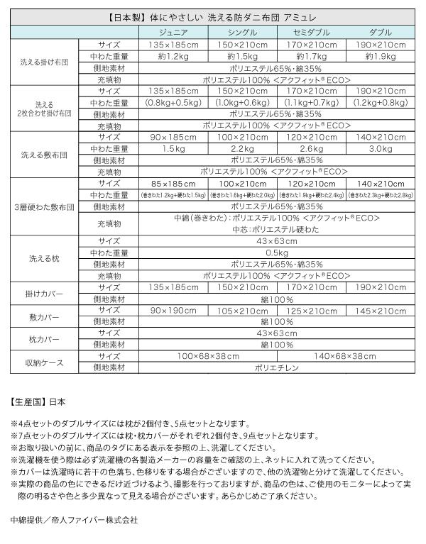 敷布団7点セット セミダブル【amule】ブ...の説明画像22