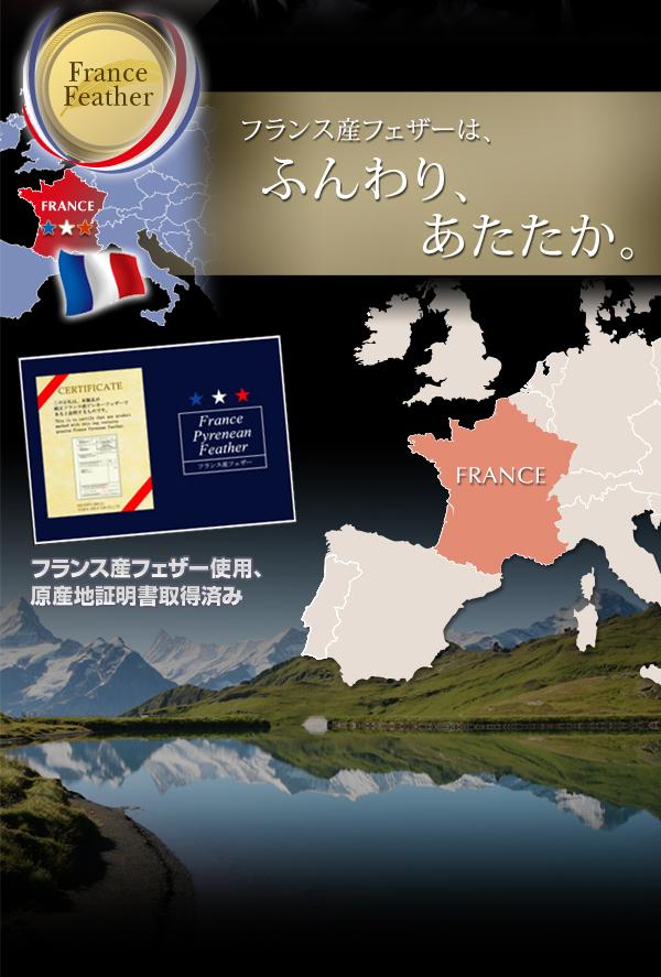 【単品】掛け布団 セミダブル オーガニックアイボリー フランス産フェザー100%羽根掛布団
