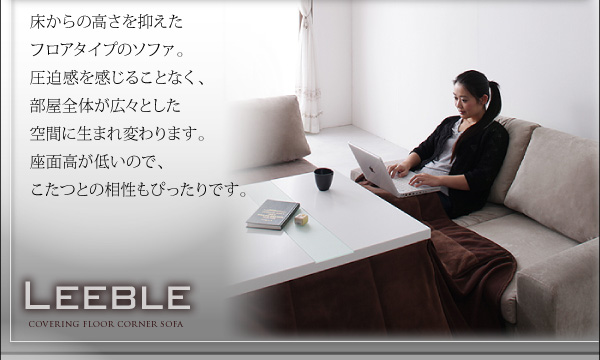 ソファーセット ブラウン カバーリングフロアコーナーソファ【Leeble】リーブル