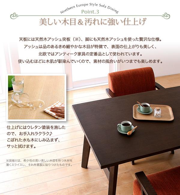 おすすめ!天然木北欧スタイル ソファーダイニングテーブルセット【Milka】ミルカ画像07
