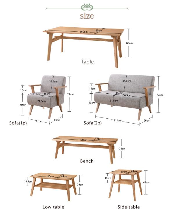 おすすめ!天然木北欧スタイル ソファーダイニングテーブルセット【Milka】ミルカ画像10