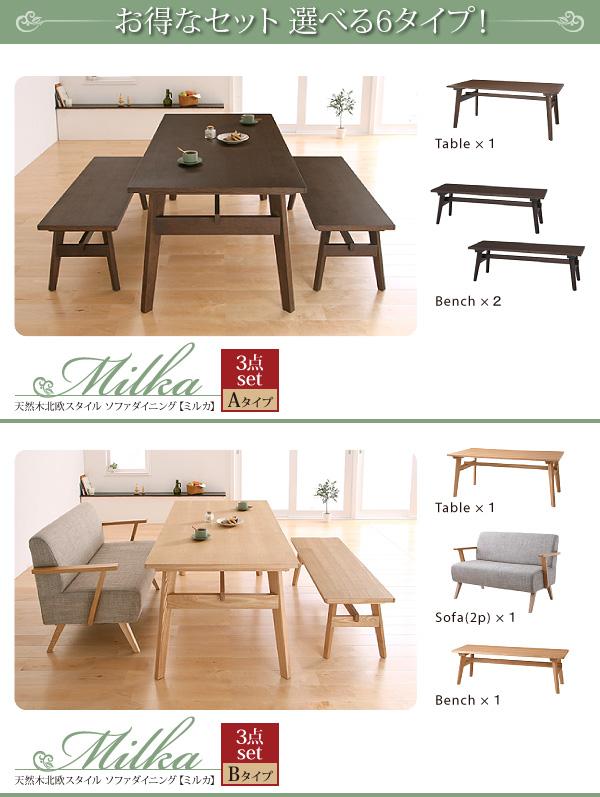 おすすめ!天然木北欧スタイル ソファーダイニングテーブルセット【Milka】ミルカ画像11