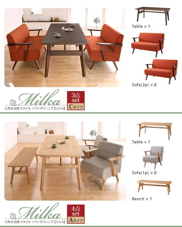 おすすめ!天然木北欧スタイル ソファーダイニングテーブルセット【Milka】ミルカ画像12