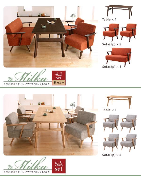 おすすめ!天然木北欧スタイル ソファーダイニングテーブルセット【Milka】ミルカ画像13