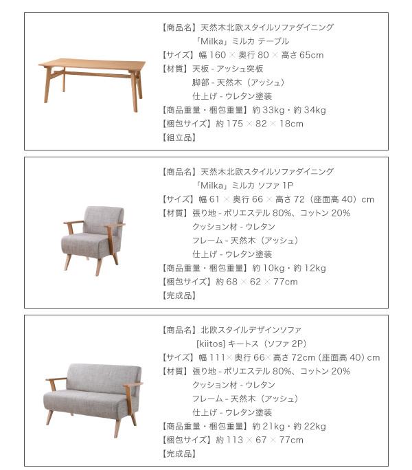 おすすめ!天然木北欧スタイル ソファーダイニングテーブルセット【Milka】ミルカ画像15
