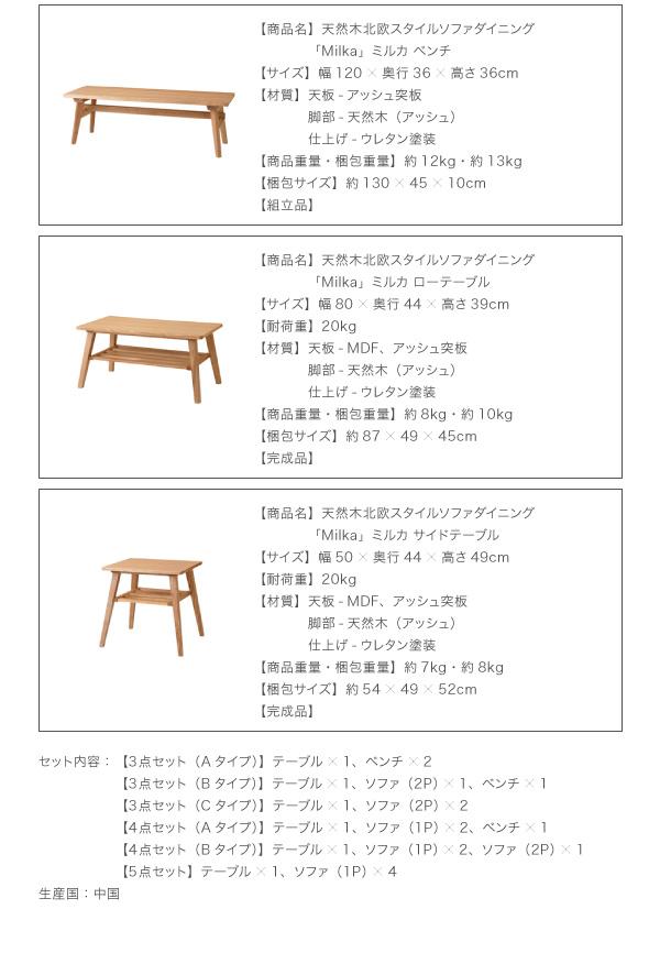 おすすめ!天然木北欧スタイル ソファーダイニングテーブルセット【Milka】ミルカ画像16