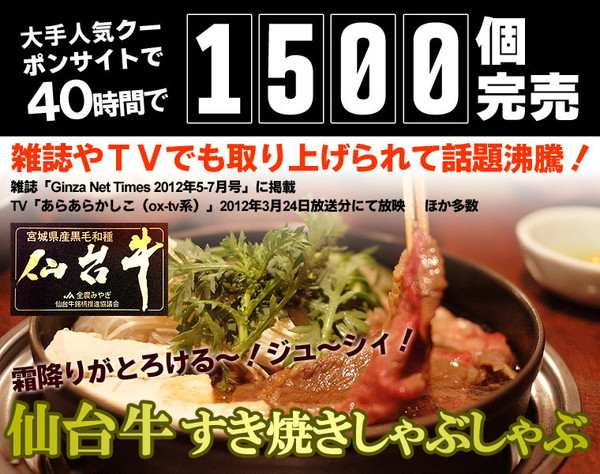 仙台牛 すき焼き・しゃぶしゃぶ用霜降り肉 1kgの説明画像1