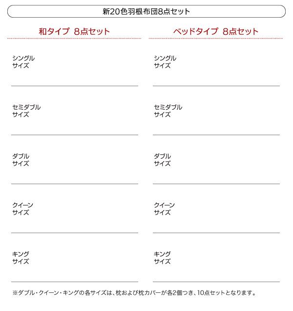 布団10点セット ダブル【和タイプ】パウダーブルー 〈3年保証〉新20色羽根布団セット