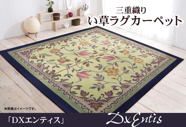 おすすめ!三重織り い草ラグカーペット『D×エンティス』約191×191cm(裏:不織布)