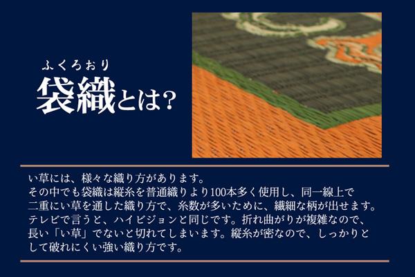 おすすめ!純国産/日本製 袋五重織い草マット ひんやり敷きパット『華紋草』約88×150cm(裏:不織布)画像03