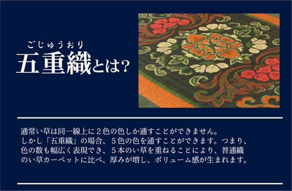 おすすめ!純国産/日本製 袋五重織い草マット ひんやり敷きパット『華紋草』約88×150cm(裏:不織布)画像04