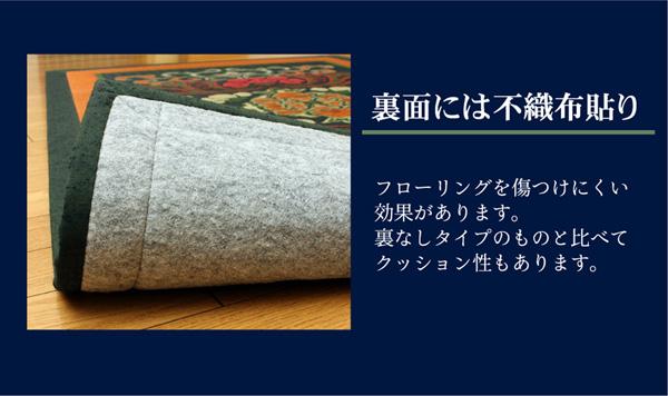 おすすめ!純国産/日本製 袋五重織い草マット ひんやり敷きパット『華紋草』約88×150cm(裏:不織布)画像05