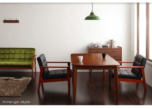 おすすめ!ウッド&レトロデザイン ソファーダイニングテーブルセット【DARNEY】ダーニー画像02
