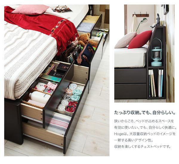 棚・モダンライト(照明)・コンセント付き収納ベッド