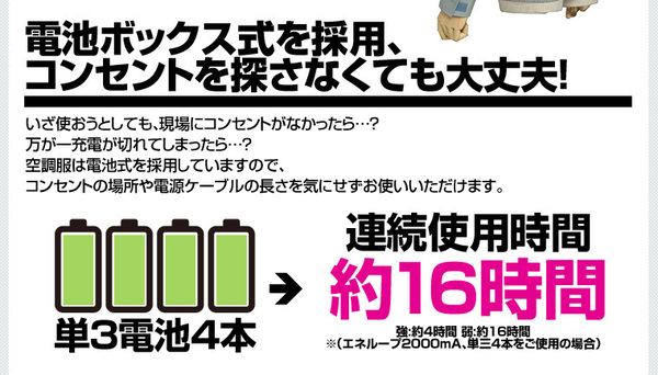 空調服 綿薄手長袖作業着 M-500U 【カラーモスグリーン: サイズ M】 電池ボックスセット