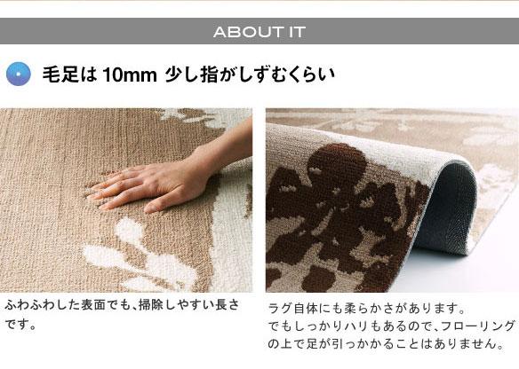 ラグマット/絨毯 【GROVE RUG 140cm×200cm ブラウン】 長方形 『NEXTHOME』 〔リビング ダイニング〕