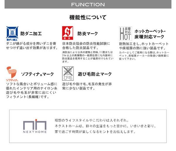 ラグマット/絨毯 【SPRING RUG 150cm×150cm グリーン】 日本製 正方形 『NEXTHOME』 〔リビング ダイニング〕