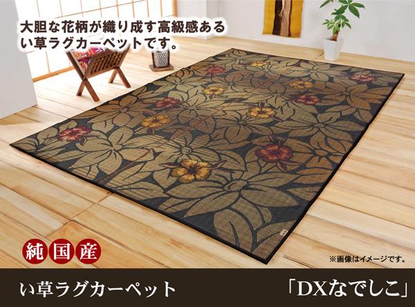おすすめ!純国産/日本製 袋織 い草ラグカーペット『D×なでしこ』(裏:不織布)