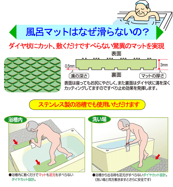 ダイヤエースすべり止め浴槽マット (Lサイズ|70cm×38cm) 自沈タイプ 天然ゴム使用の商品説明