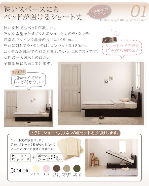 収納ベッド セミシングル【La・Tante】【...の説明画像3