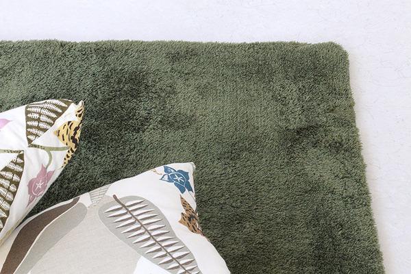 ラグマット 洗える 長方形(200×400cm) モスグリーン 【やさしいマイクロファイバーシャギーラグ】 〔北欧風 丸洗い カーペット〕