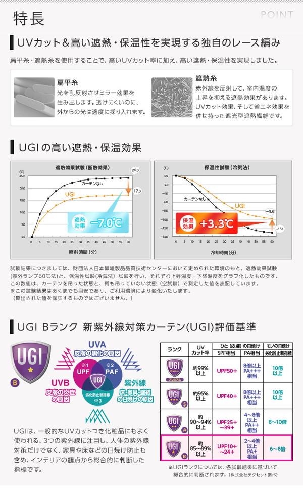 窓を飾るカーテン UGI 紫外線約92%カット...の説明画像3