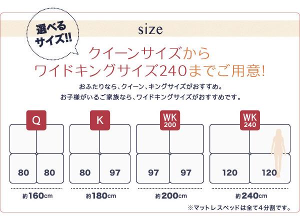 脚付きマットレスベッド ワイドキングサイズ20...の説明画像5