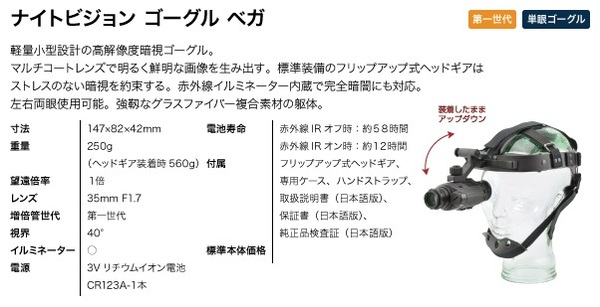 双眼鏡型 暗視スコープゴーグル(ナイトビジョン) アーマサイト ナイトビジョンゴーグル ニノックス