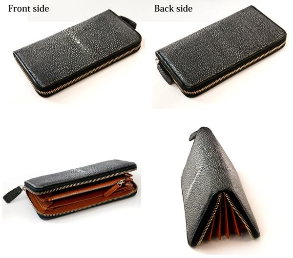 天然ガルーシャ革 ラウンド財布 各方向からのイメージ