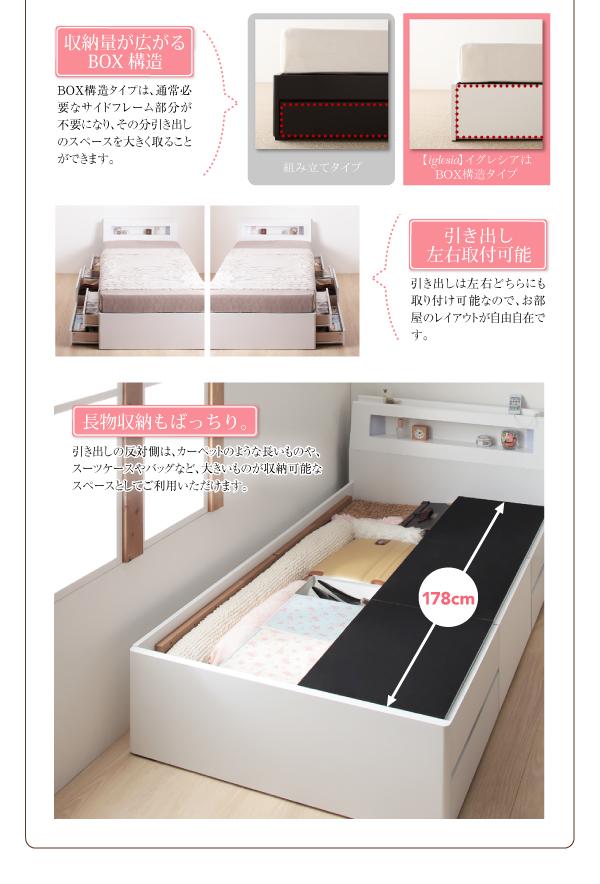 Box構造・ショート丈ベッド、チェストベッド