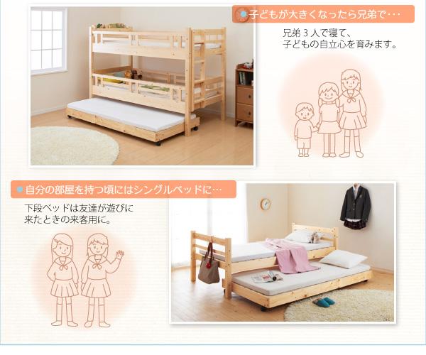 すのこベッド タイプが選べる頑丈収納式ロータイプ3段ベッド【ferichica】フェリチカ画像11