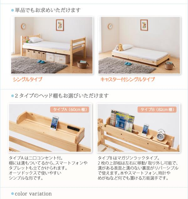 すのこベッド タイプが選べる頑丈収納式ロータイプ3段ベッド【ferichica】フェリチカ画像14