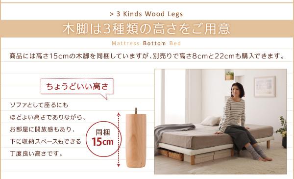脚付きマットレスベッド キングサイズ【スタンダ...の説明画像8