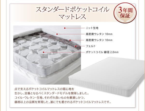 脚付きマットレスベッド キングサイズ【スタン...の説明画像24