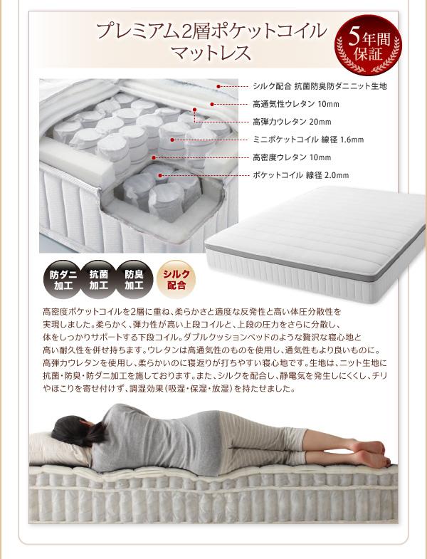 脚付きマットレスベッド キングサイズ【スタン...の説明画像26