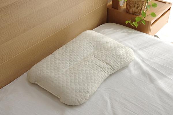 枕 まくら ピロー 無地 アロマが香る 『アロマグラス ラベンダー くぼみ平枕』 約35×50cm 箱付 側:綿100%