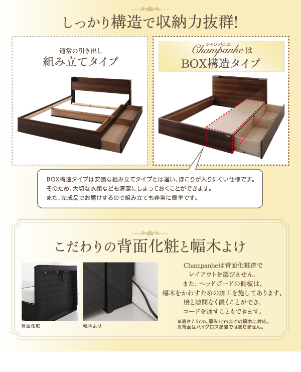 収納ベッド ワイドダブル【Champanhe...の説明画像14