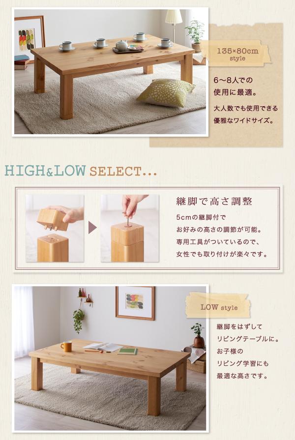 【単品】こたつテーブル 長方形(120×80cm)【Lareiras】ナチュラル 天然木パイン材・北欧デザインこたつテーブル【Lareiras】ラレイラス